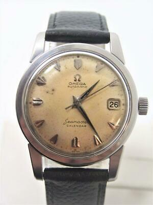 Vintage S/Steel OMEGA SEAMASTER CALENDAR Automatic Watch Cal.502 1950s SERVICED