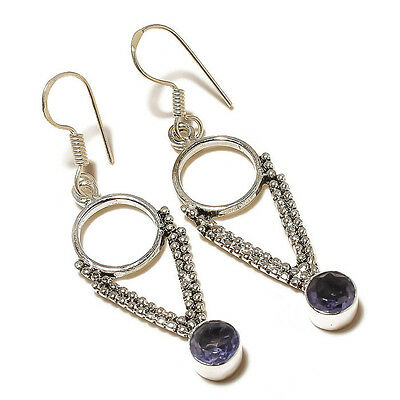 Stunning Faceted Iolite Circle Gemstone silver plated Handmade Dangle Earrings