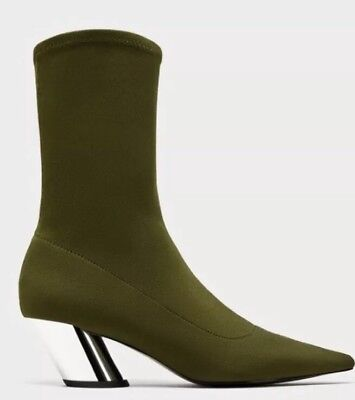 ZARA HIGH HEEL Sock Style Ankle Boots With Striped Detail