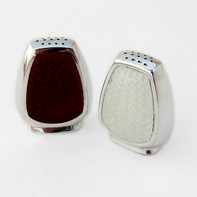 Michelsen Salt Pepper Shakers Red White Enamel Sterling Silver