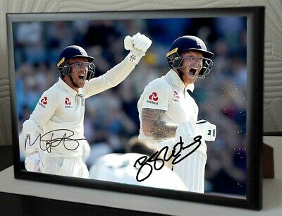 """Ben Stokes & Jack Leach 2019 Framed Canvas Tribute Print Signed.""""Great Gift"""""""