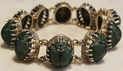 ❤️ Eclectic Antique Egyptian Revival Genuine Scarab Beetle Victorian Bracelet ❤️