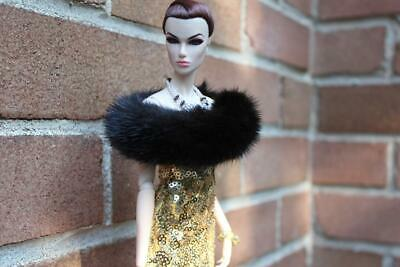 ~Jet black Mink Infinity Stole 4 Silkstone Barbie Fashion Royalty doll~dimitha~