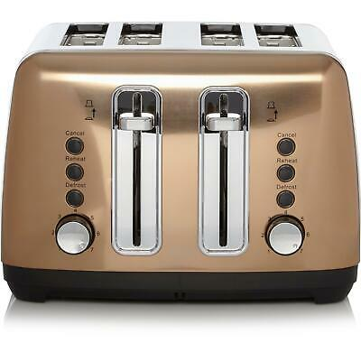 Quality Rose Gold Styled Toaster 4 Slice Copper For Kitchen Stainless Steel New