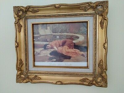 "Vntg Ornate Gold Gilt Wood 2-1/4"" Wide Picture Frame w Print, Glass"