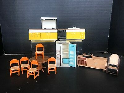 TOMY SMALLER HOMES DOLLHOUSE FURNITURE KITCHEN TABLE CHAIRS ROCKER Vintage 12 Pc