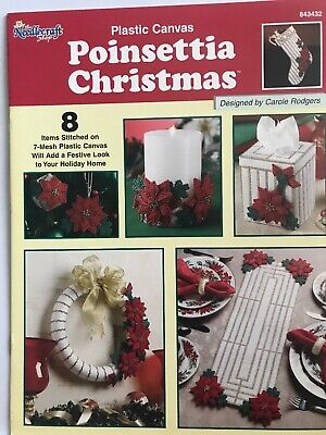 Holiday Plastic Canvas Patterns Poinsettia Christmas Needlecraft Shop RARE