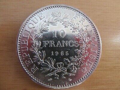 1965 FRANCE Silver 10 FRANCS Coin. Hercules and Maidens Design.