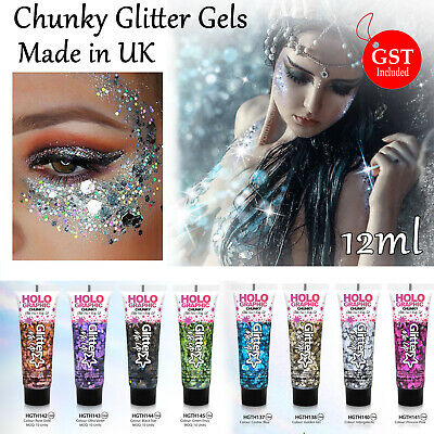 8x HGTH Chunky Glitter Fix Gels12ml Make Up Party Paint Face Body Fancy Dress AU
