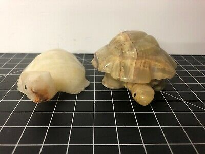 Vintage Marble Turtles - Paperweight And Trinket Case 4""