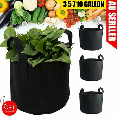 Up to 10 Fabric Plant Pots Grow Bags with Handles 3 5 7 10 Gallon Planter Basket