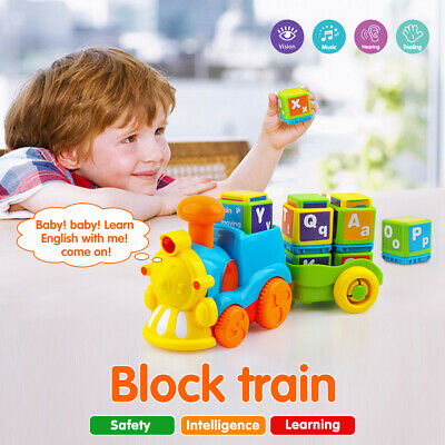 WOODEN TRAIN BUILDING Blocks Educational Learning Toys Set