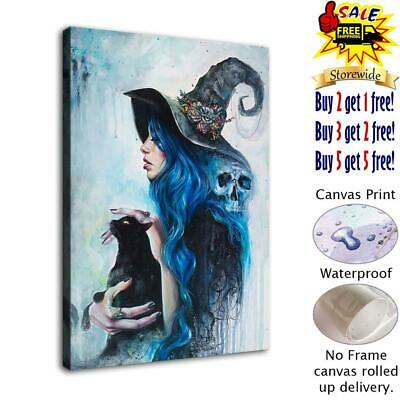 """Witch and Cat Halloween HD Canvas prints Painting Home Decor Wall art 12""""x16"""""""