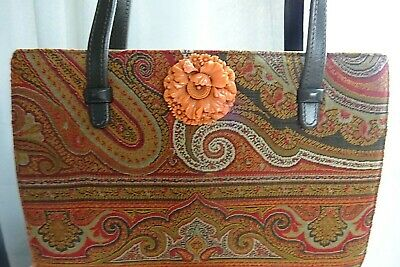 Fantastic french 1930's art deco paisley handbag with Bakerlite carved flowers