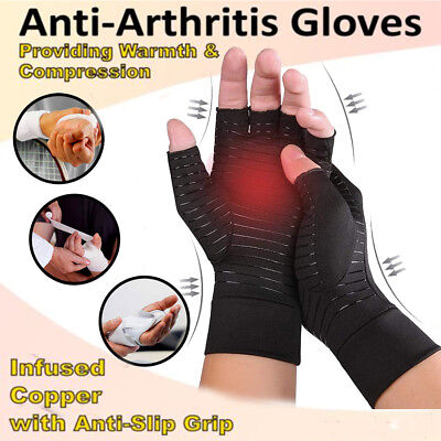 Pair Copper Anti Arthritis Compression Gloves Hand Support Finger Pain Relief GW