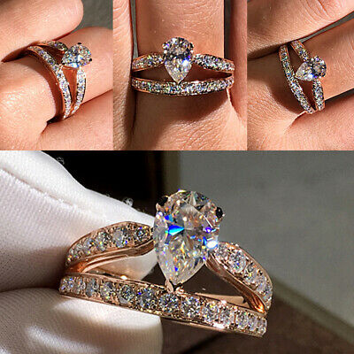 Tear Drop Diamond Rose Gold Women Finger Ring Wedding Party Engagement Ring Size