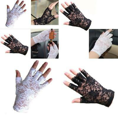 Women Evening Wedding Party Goth Sexy Dressy Lace Fingerless Gloves Mittens