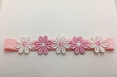 BABIES PINK HEADBAND WITH PINK AND WHITE DAISIES 6- 12 month's