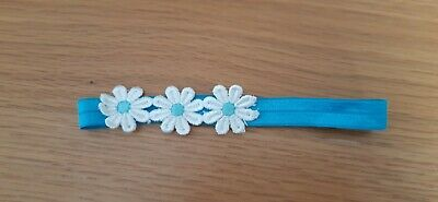 Girls / babies turquoise Headband with 3 matching daisies