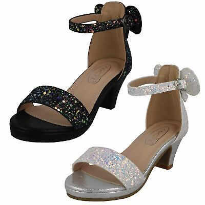 H1R109 Spot On Girls Open Toe Mid Heel Ankle Strap Party Evening Glitter Sandals