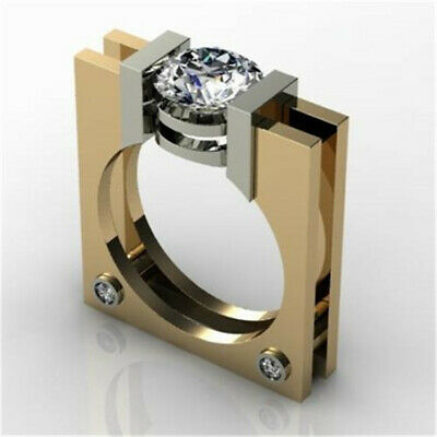 Cool 18K Yellow Gold Plated White Topaz Ring Women Men Wedding Proposal Sz 6-10