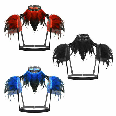 Women Shoulder Cape Gothic Victorian Feather Cosplay Costumes Halloween Shrug