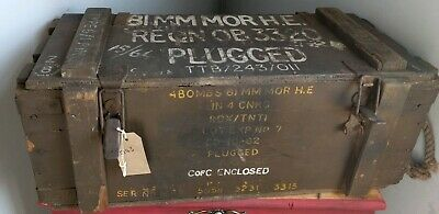 Vintage Old Wooden WW2 Ammunition Box Storage Trunk Crate Chest Military Rustic