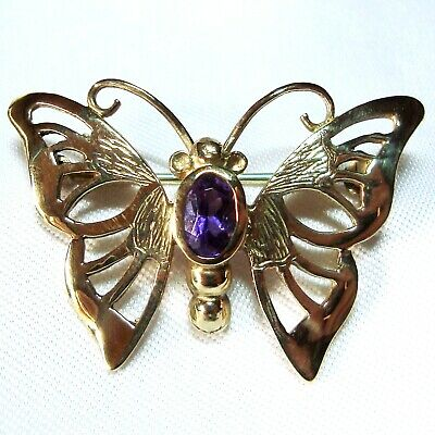 Schmetterlings Brosche 333 Gold Schmetterling Insekt butterfly brooch / BU 226