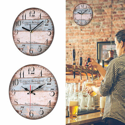 23/30cm Extra Large Round Wooden Wall Clock Vintage Retro Antique Distressed