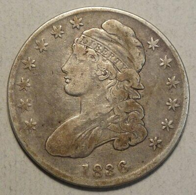 1836 Capped Bust Half Dollar, Scarce Variety,   0613-34