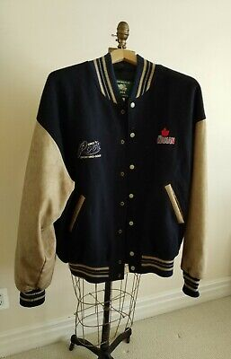 Vintage Roots Toronto Maple leaf fan sport wool and leather bomber jacquet