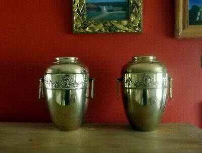 Pair of Antique Beldray English Art Nouveau Twin Handled Brass Vases