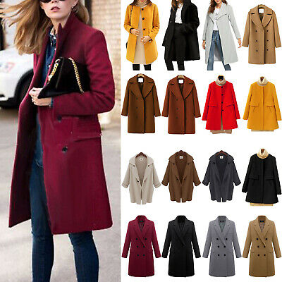 Womens Winter Warm Wool Trench Parka Coat Jacket Ladies Long Overcoat Outwear