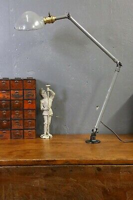 Vintage 1940s AJUSCO Industrial Articulated Work Lamp Light Drafting Table Gray