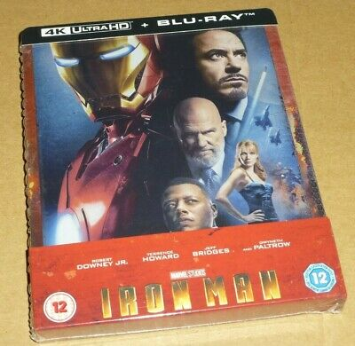 IRON MAN - 4K UHD + 2D Blu-ray, UK Exclusive STEELBOOK, Marvel, In Stock