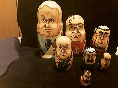 Collectible  Set Of 7 Russian Presidents  All Wood Nesting Dolls