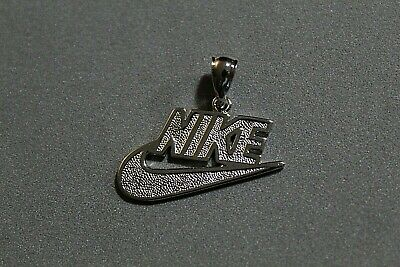Nike Swoosh Retro Pendant Charm REAL 925 Sterling Silver With 14k White Gold