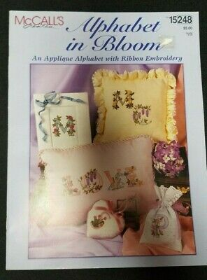 McCalls Alphabet in Bloom Applique Alphabet With Ribbon Embroidery 15248
