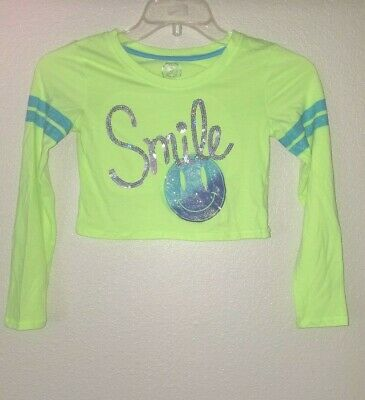 Sweet Bright girl's Embellished Smile SO Size 12 Crop Top Tee Long Sleeve