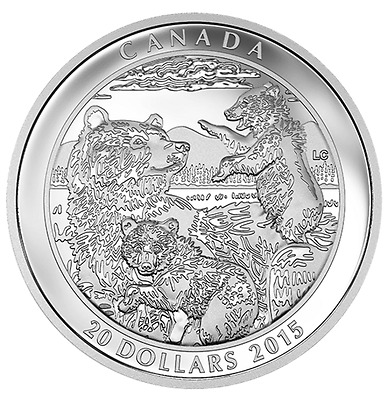 Canada $20 1 oz. Proof 99,99 % Fine Silver Coin  – Grizzly Bear: Family  (2015)