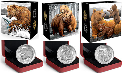 3 x 1 oz Proof Fine Silver Coin– Grizzly Bear: The catch - Togetherness - Family