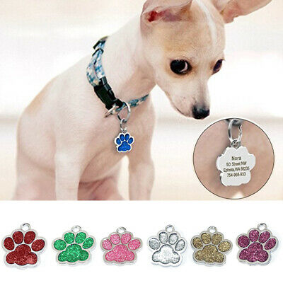 Personalised Engraved Glitter Paw Print Tag Dog Pet ID Tags Reflective 27*25mm