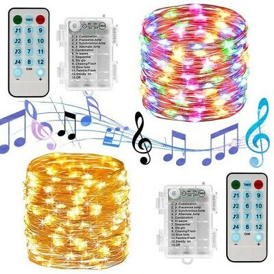 XMAS Battery Operated String Lights Micro LED 12 Modes Music Copper Wire Lamp