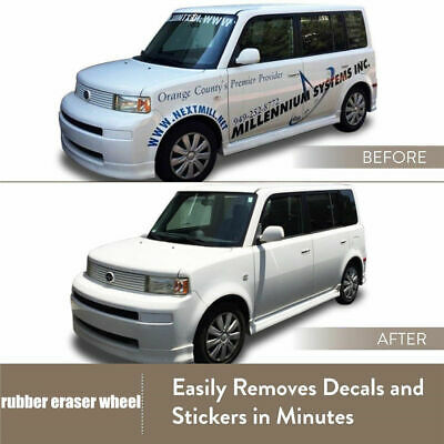 """US! Decal Removal Eraser Wheel w/ Power Drill Arbor Adapter 4"""" Rubber Pinstripe"""