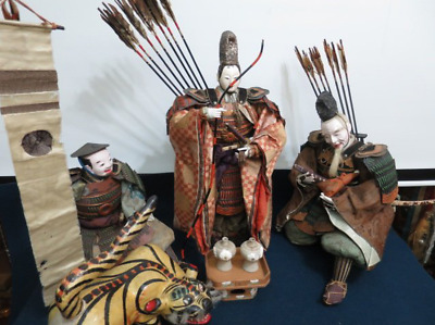 "Japanese Antique Large Doll 24"" Emperor Ojin, Takenouchi no Sukune & More, Edo"
