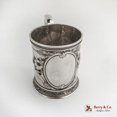 Wood Hughes Large Ornate Cup Mug Sterling Silver 1870