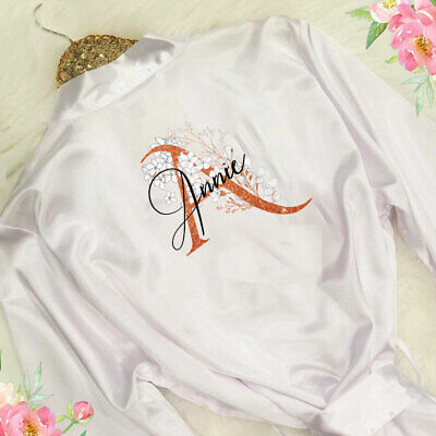 Personalised Initial Name Wedding Bride Satin Robe Bridal Party Gown Bridesmaid
