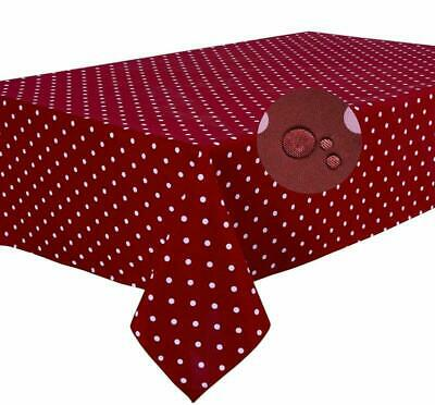 """Stain Resistant Large Rectangular Fabric Tablecloth 140x240cm 55""""x94"""" Polka Dot"""