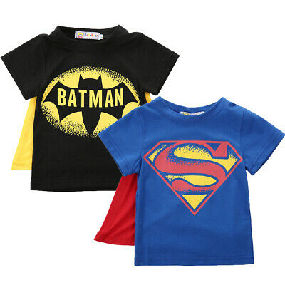 Kids Cartoon T shirt Baby Boys Batman Tee Tops Cloak Cosplay Halloween Costume