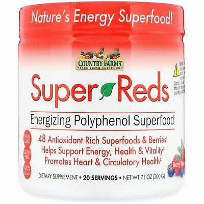 Super Reds, Energizing Polyphenol Superfood, Berry Flavor - Country Farms